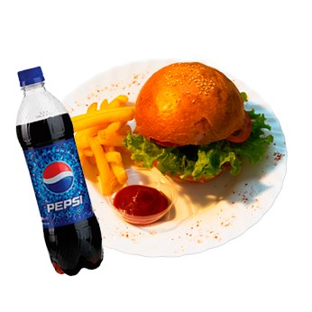 Гамбургер + Pepsi 0.5 + картошка фри и соус | The Krusty Krabs | FoodGo.kz